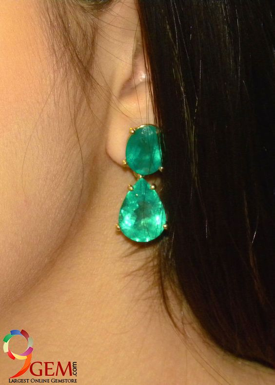 42f693868 Angelina Jolie style emerald earrings with your expensive outfit ...