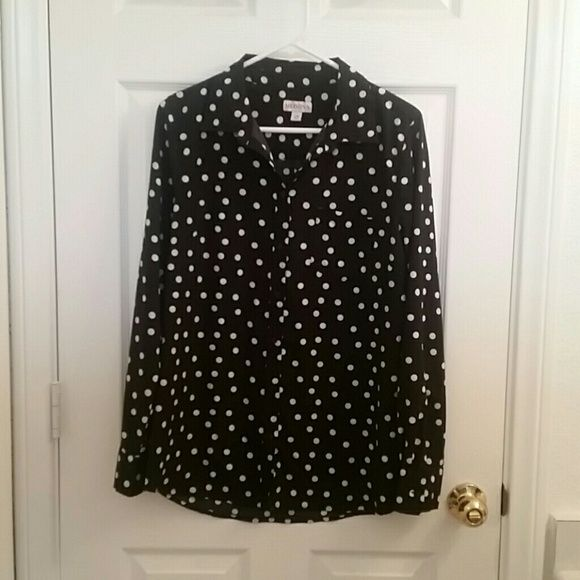 Black & White Polka Dot Top This black & white polka dot button down top is great for casual days or easily dressed up for more glamorous affairs. Has one pocket on the front. Merona Tops