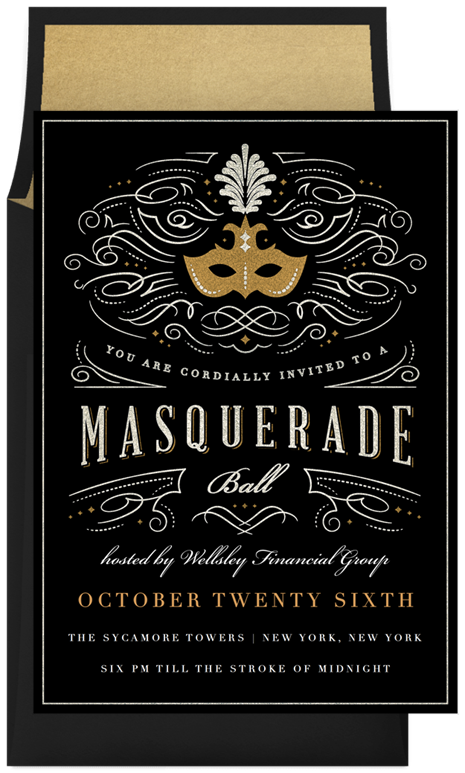 Masquerade Ball Invitations in Gold Masquerade ball Masquerades