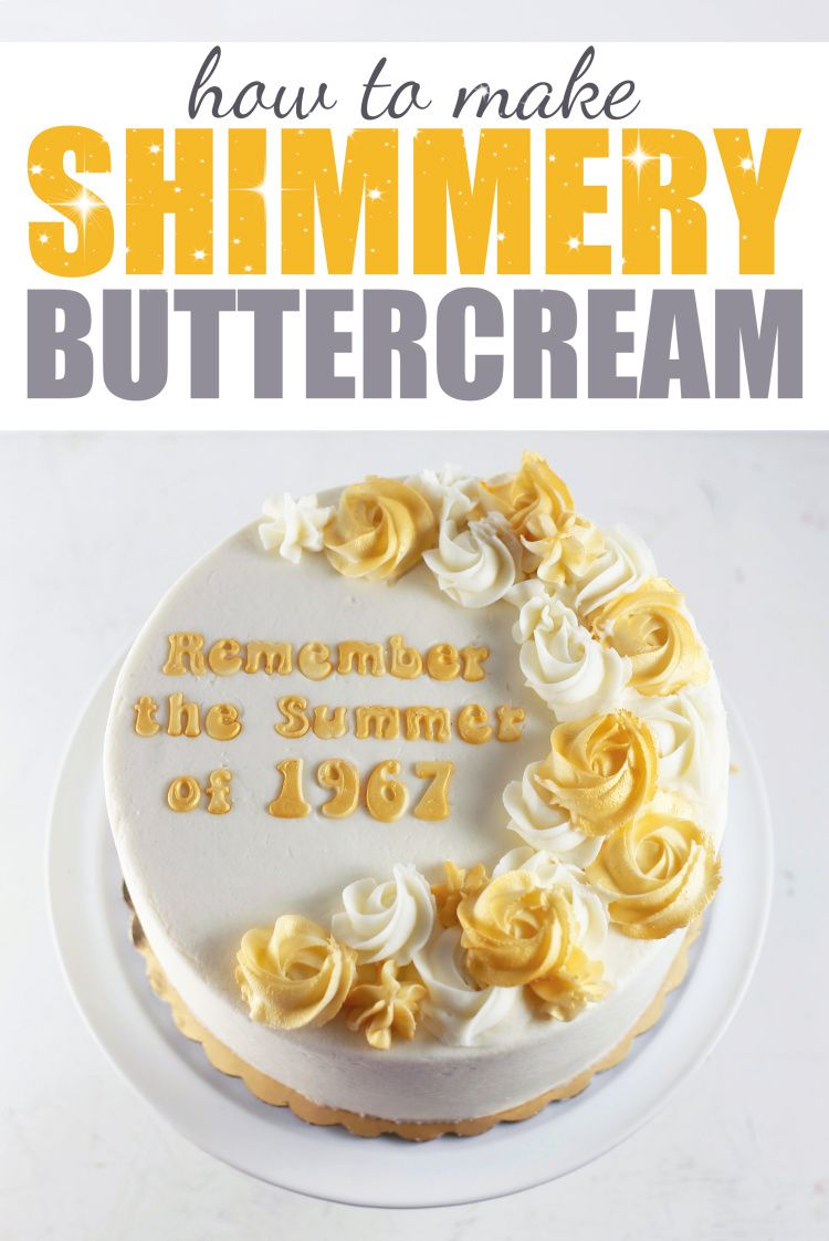 How to Make Shimmery Buttercream Roses - 50th Anniversary Cake How to Make Shimmery Buttercream Roses - 50th Anniversary Cake. Visit the blog for tutorial!