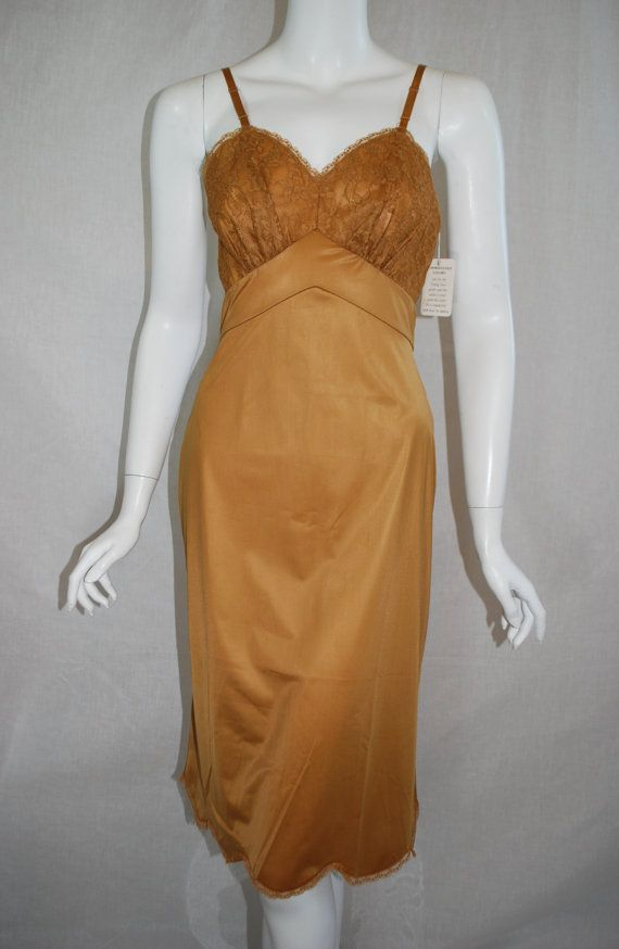 89781e71090 1960s Gold Vanity Fair Full Slip 32 small New Old Stock