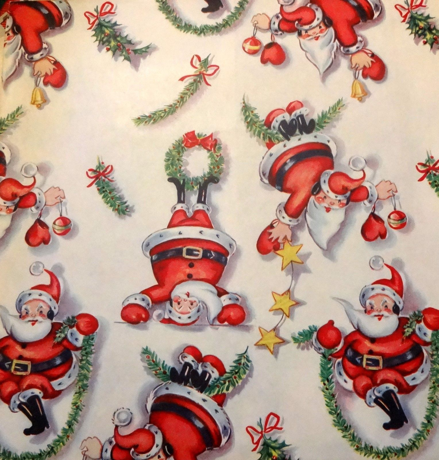 Vintage 1950 S Christmas Wrapping Paper Athletic Santa Nos Vintage Christmas Wrapping Paper Xmas Wrapping Paper Christmas Wrapping Paper