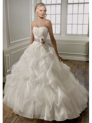 Lace Softly Curved Neckline Hand Beaded Bodice Ball Gown Wedding Dress