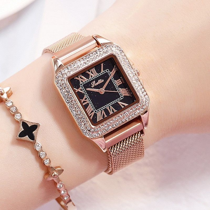 Watches Dropshipping Classy Women Ladies Crystal Roman Numerals Gold Mesh Band Wrist Watch Lady Dress Watch Numerous In Variety