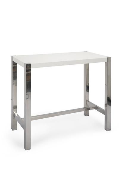 Er 1080 18 Riva Bar Table White High Gloss Lacquer Brushed Stainless Steel By