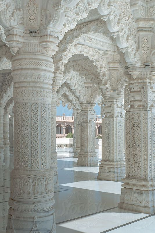 White Marble Arches In Indian Temple by Alexander