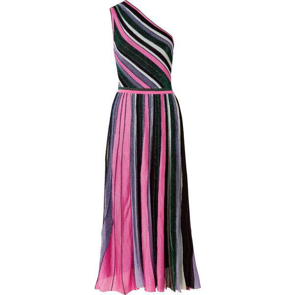Missoni One-shoulder pleated metallic stretch-knit midi dress ...