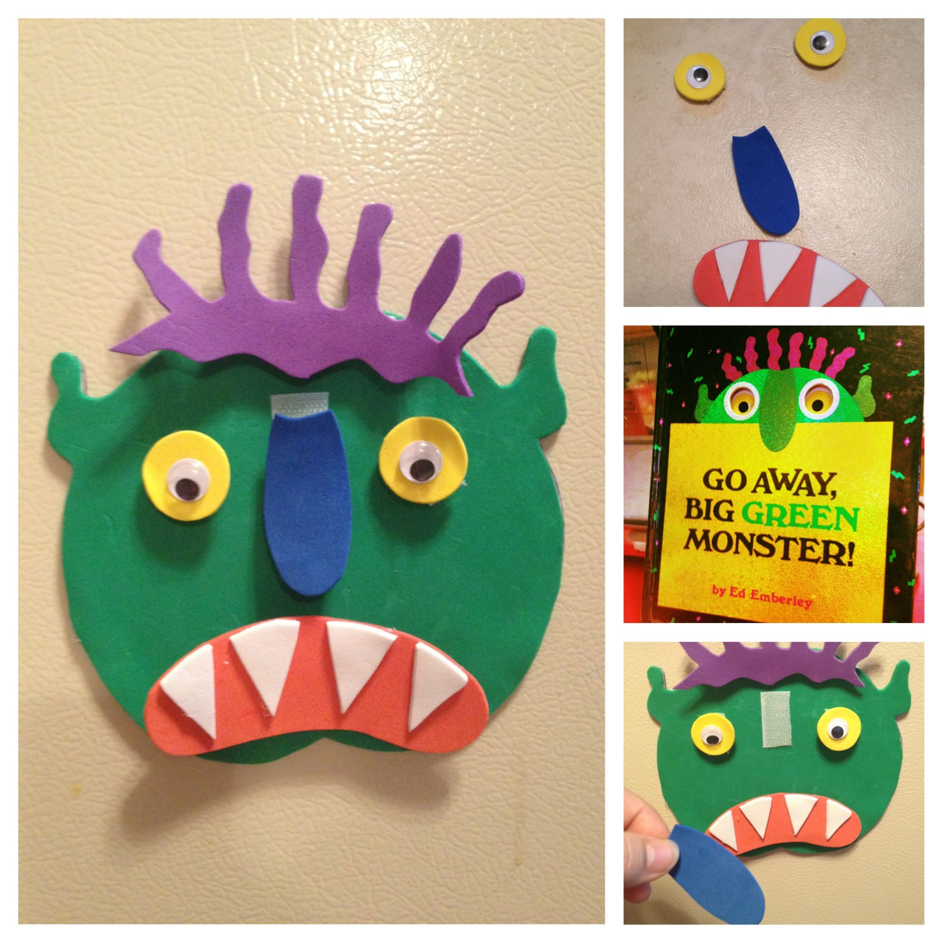 Magnetic Flannel Board For Go Away Big Green Monster Ed Emberley This Is My Son S Favorite B Speech Therapy Book Activities Big Green Monster Classroom Crafts
