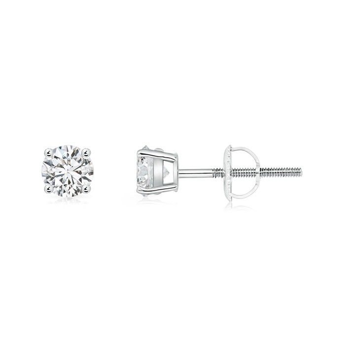 Angara Round Brown Diamond Solitaire Stud Earrings in Platinum QtCft