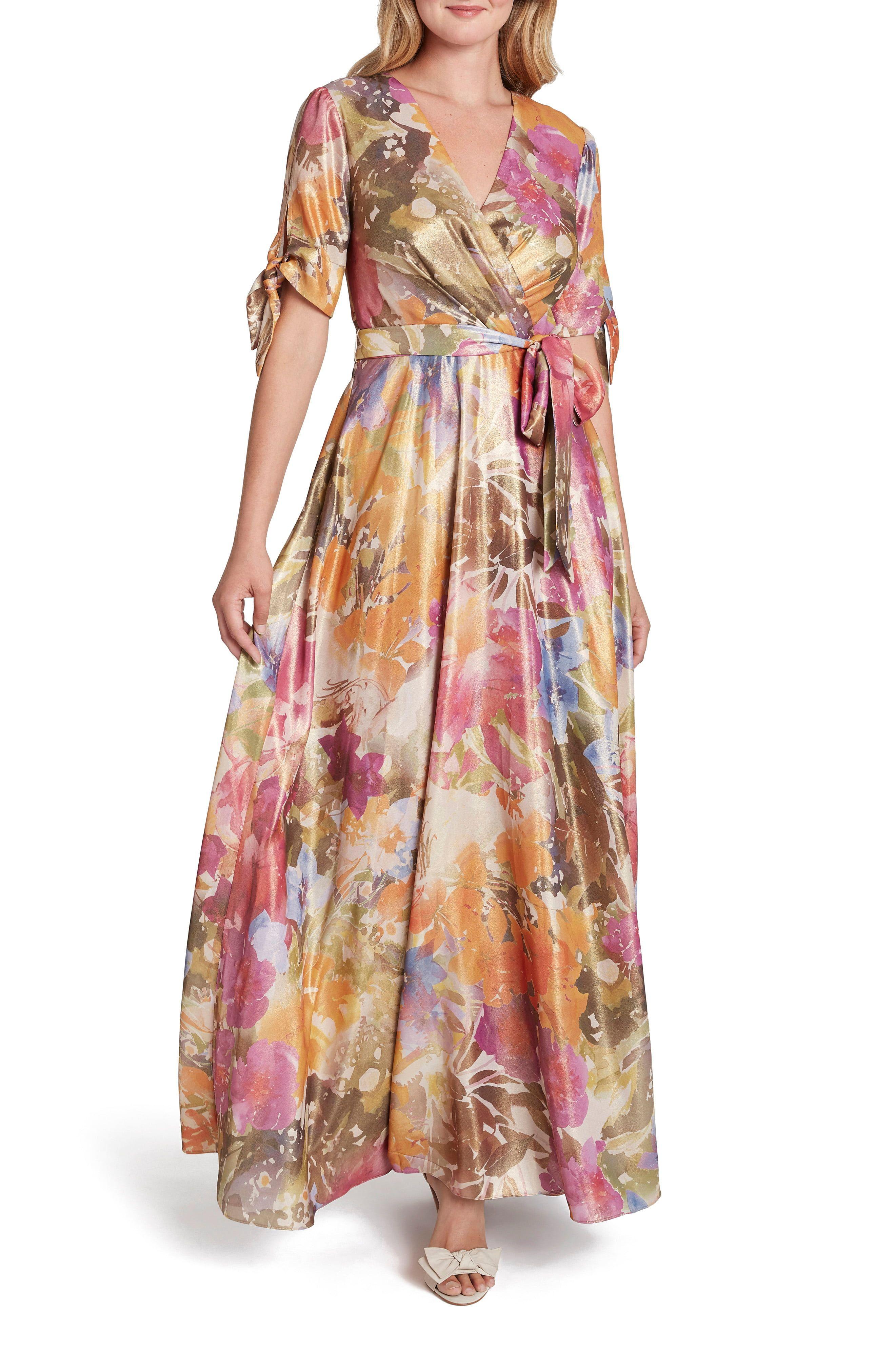 Tahari Floral Shimmer Short Sleeve Gown Nordstrom Maxi Dress Elie Tahari Dresses Tahari Dress [ 4048 x 2640 Pixel ]