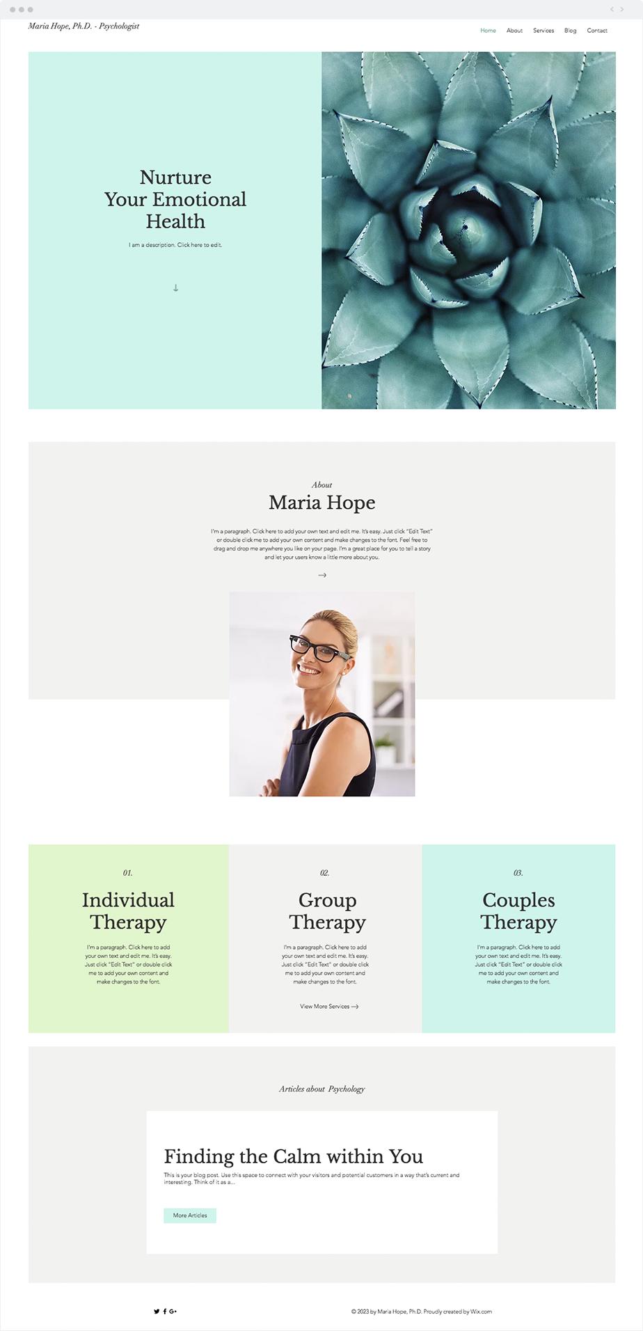 Psychologist Website Template Wix Website Templates Website