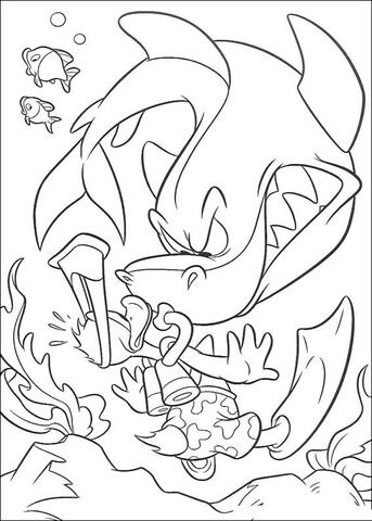Donald And A Sinister Shark Coloring Page
