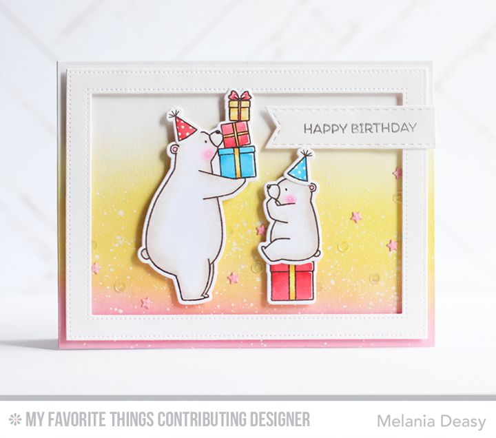 Birthday Bears, Pierced Rectangle Frames Die-namics - Melania Deasy  #mftstampsMy Favorite Things July New Products Launch