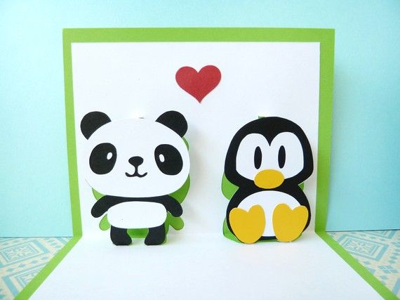 Panda And Penguin In Love Pop Up Card By Cookiebits On Etsy Penguins Cards Panda Love