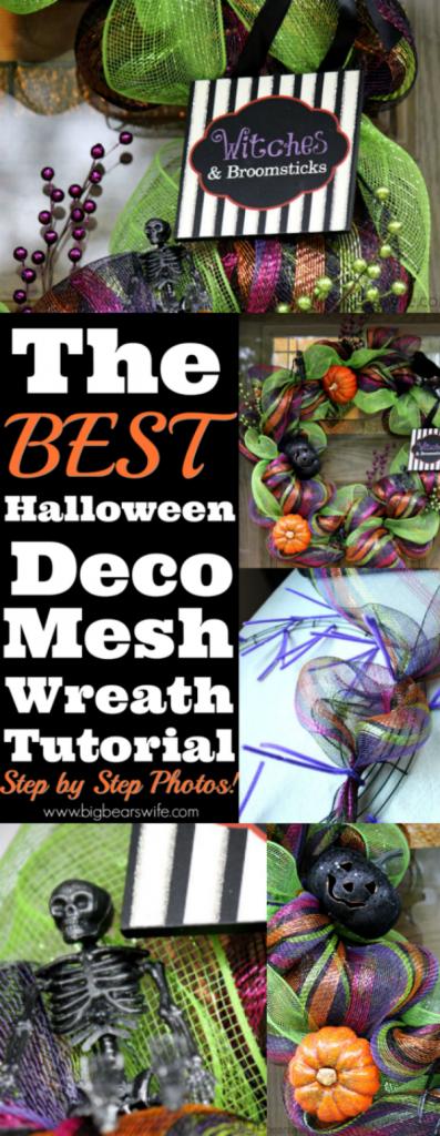 Halloween Deco Mesh Wreath Tutorial #decomeshwreaths