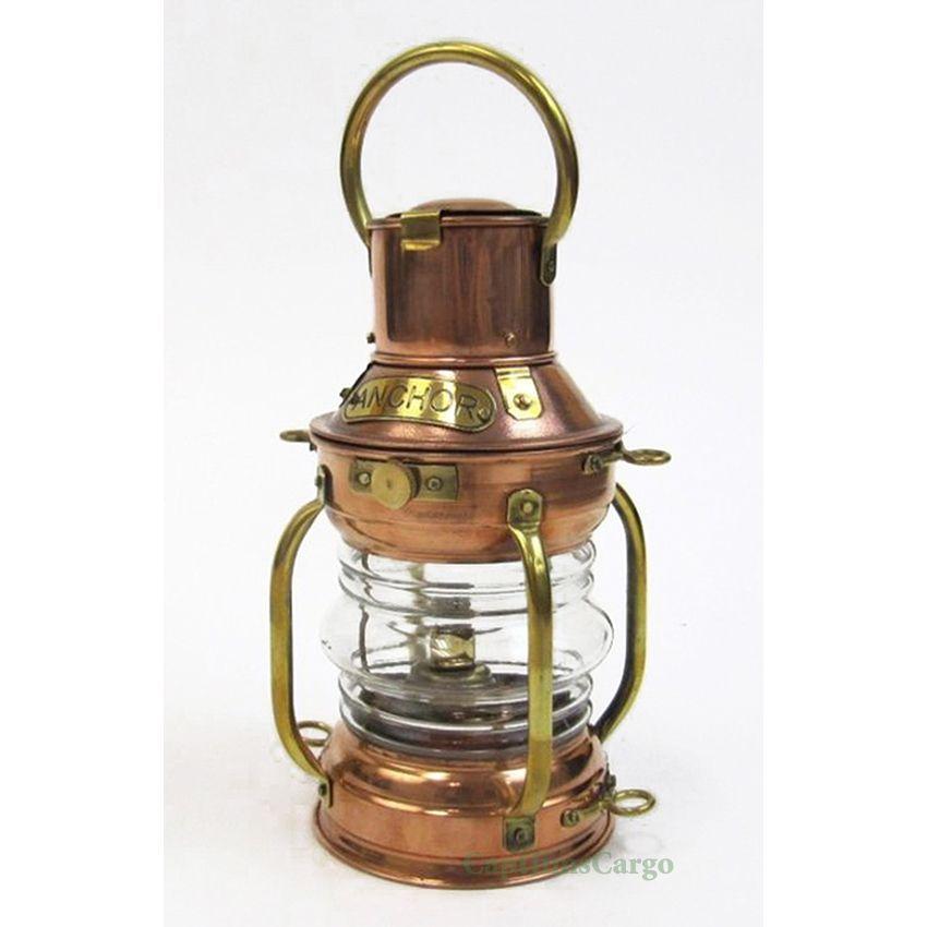 """Lantern Marine Anchor 10/"""" Decortive Oil Lamp Nautical Ship Lantern Brass Finish"""