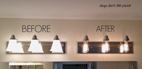 How To Update Your Old Bathroom Light Fixture To Industrial Light Fixture Diy Industrial Bathroom Decor Bathroom Light Fixtures Apartment Bathroom