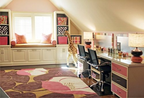 fantastisches mädchenzimmer rosa braun schminktische ... - Kinderzimmer Rosa Braun