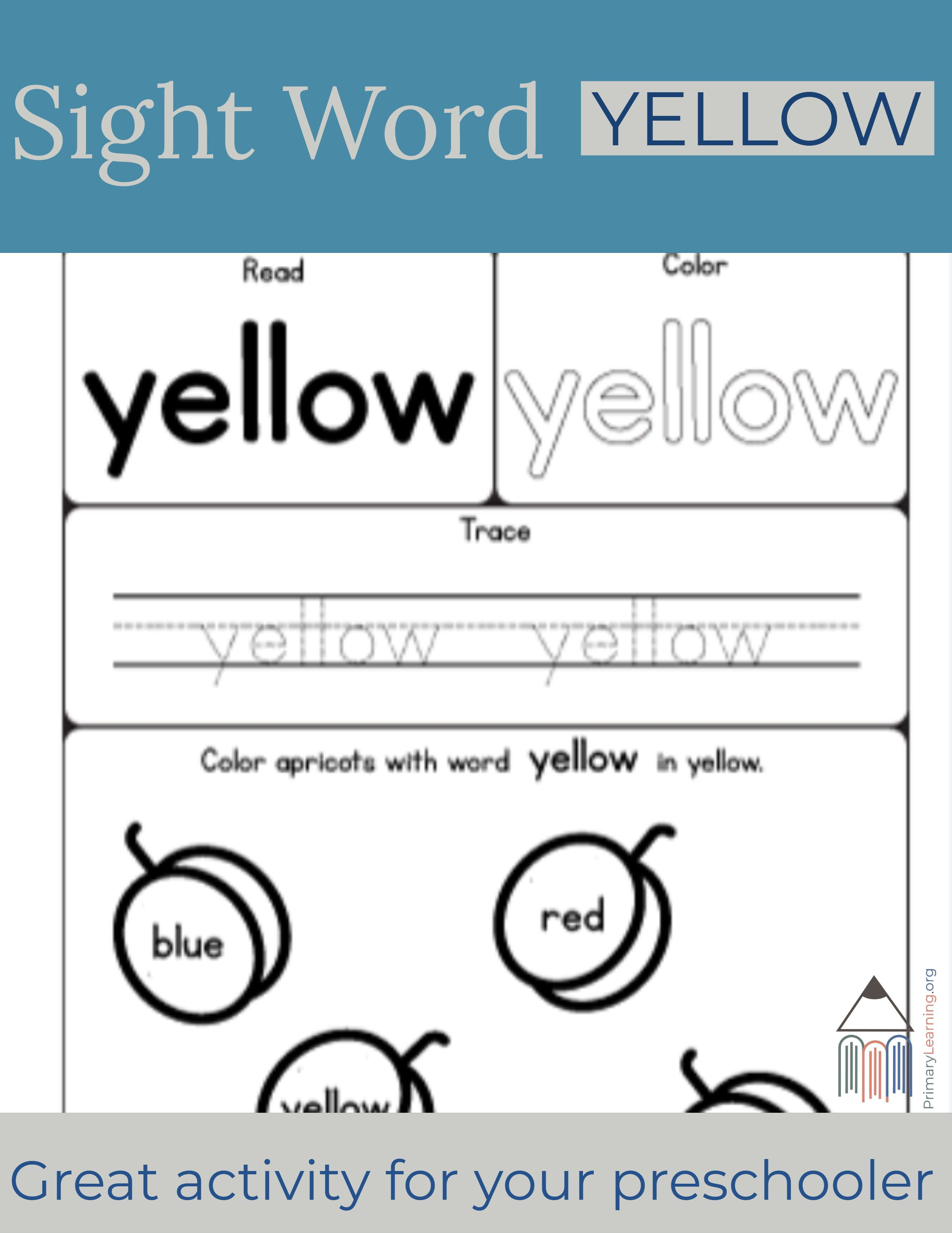 Sight Word Yellow Worksheet