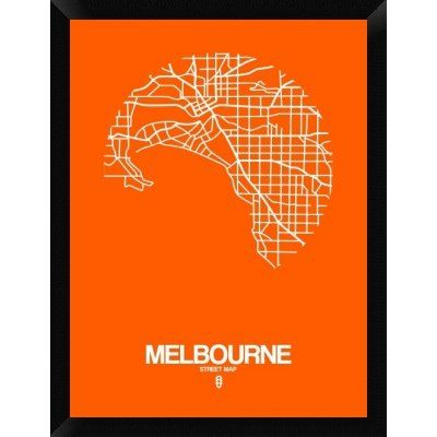 Naxart melbourne street map framed graphic art print on canvas naxart melbourne street map framed graphic art print on canvas in orange size gumiabroncs Image collections
