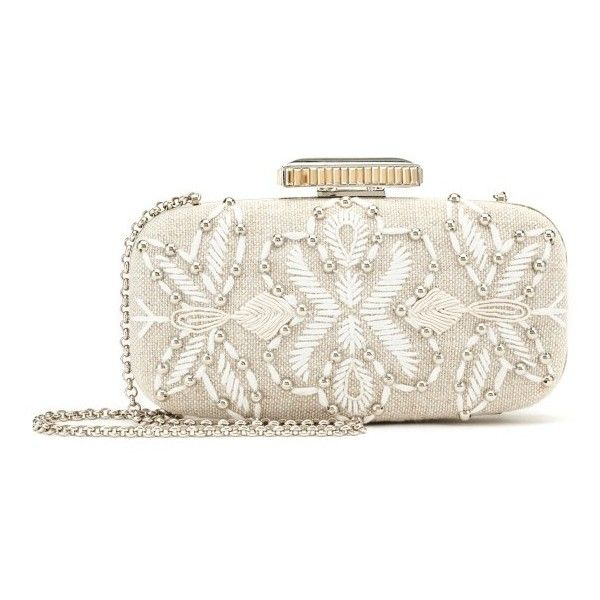 Oscar de la Renta Embroidered Linen Goa Clutch ($1,590) ❤ liked on Polyvore featuring bags, handbags, clutches, structured purse, chain strap purse, white beaded purse, white purse and embroidered handbags