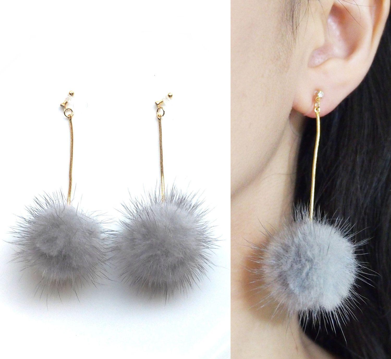 Mink Fur Invisible Clip On Earrings, Gray Pom Pom Clip Earrings, Dangle Fur  Ball Clipons, Non Pierced Earrings, Real Fur Clip On Earrings