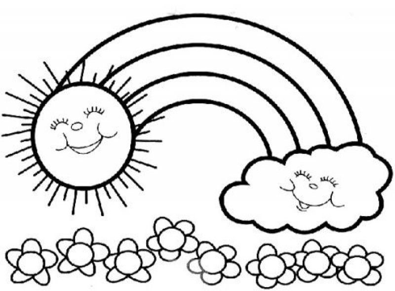 the sun and cloud are happy because of rainbow coloring pages