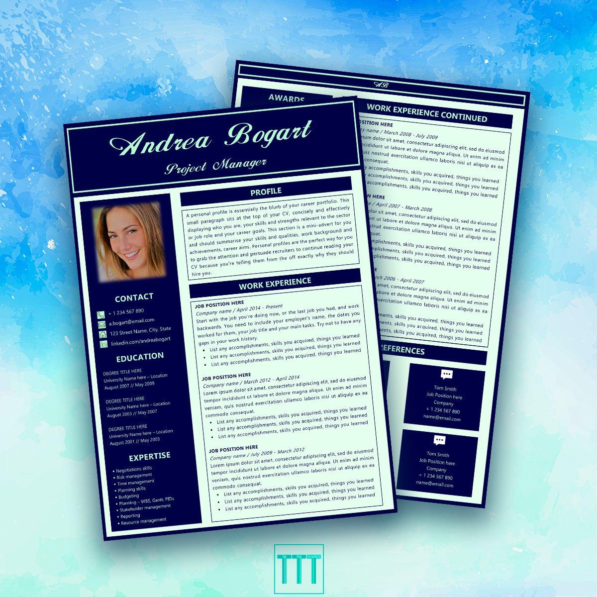 2 page modern cv template by tiptoptemplate modern cv