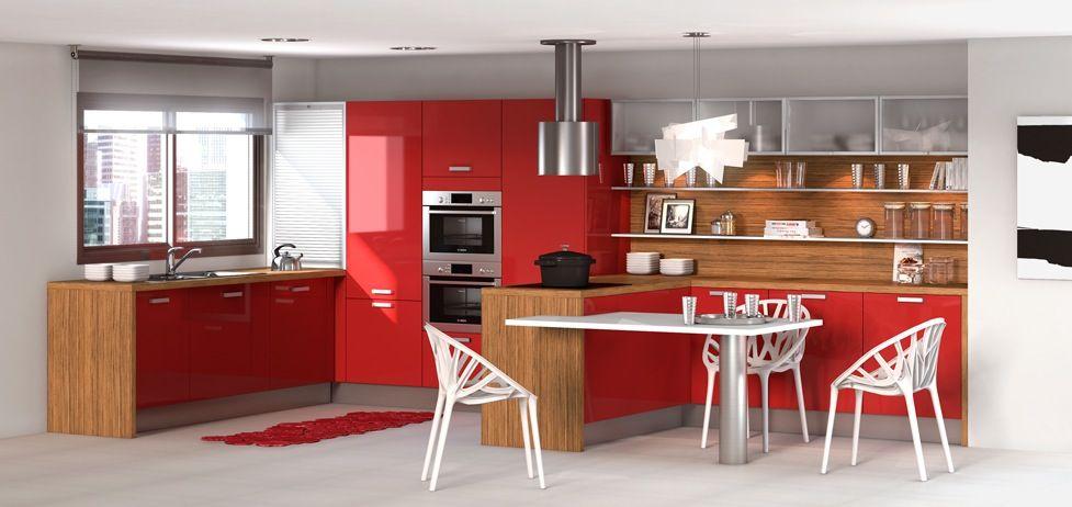 Cuisine rouge en bois - Cuisine rouge en bois de style design - plan de travail cuisine rouge