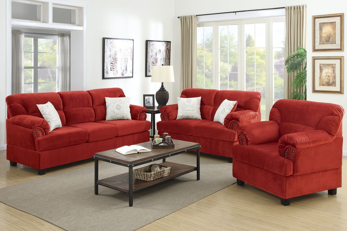 Best 3 Pcs Sofa Set Red Couch Living Room Cheap Living Room 400 x 300