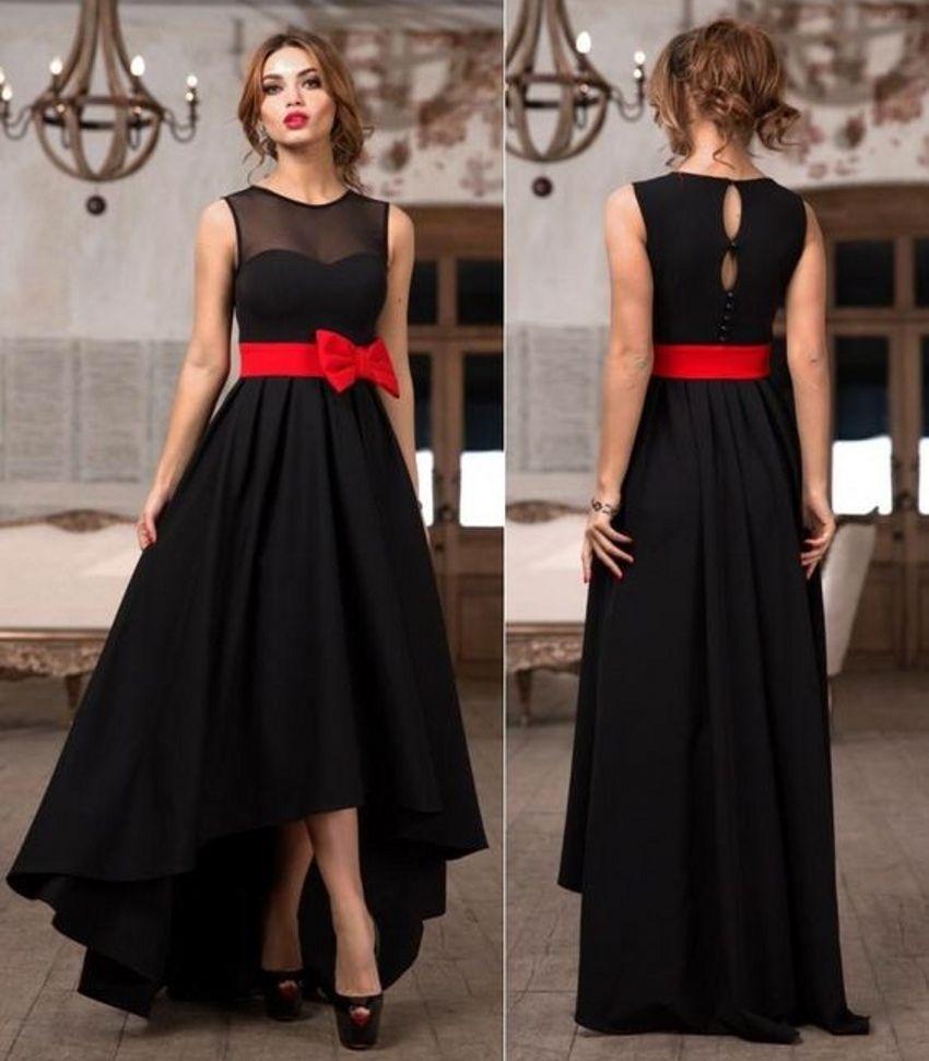 Atemberaubende schwarz Hallo-Lo Brautjungfernkleider mit roter ...