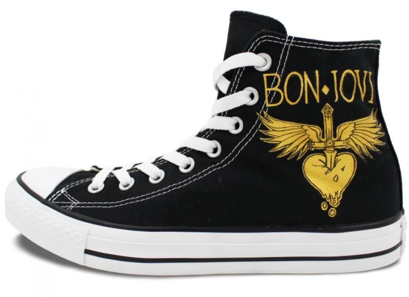7c4bdec4044f5 Hand Painted Shoes Man Woman Bon Jovi Design High Top Men Women ...