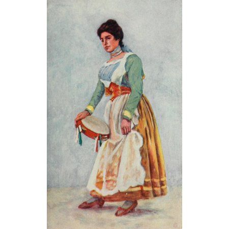 Naples 1904 Tarantella dancer at Sorrento Canvas Art - Augustine Fitzgerald (18 x 24)
