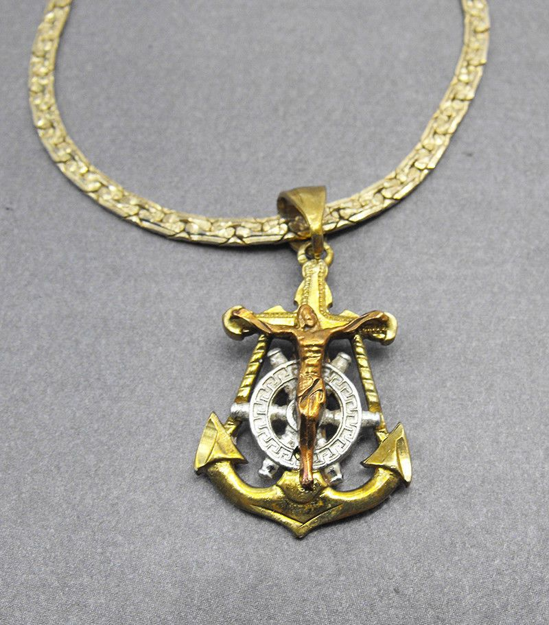 50388817ba Mariners Sailor 14k Gold Anchor Ship Wheel Cross Crucifix Tri Color Mexico