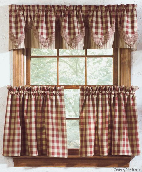 York Lined Point Curtain Valance Country Kitchen Curtains