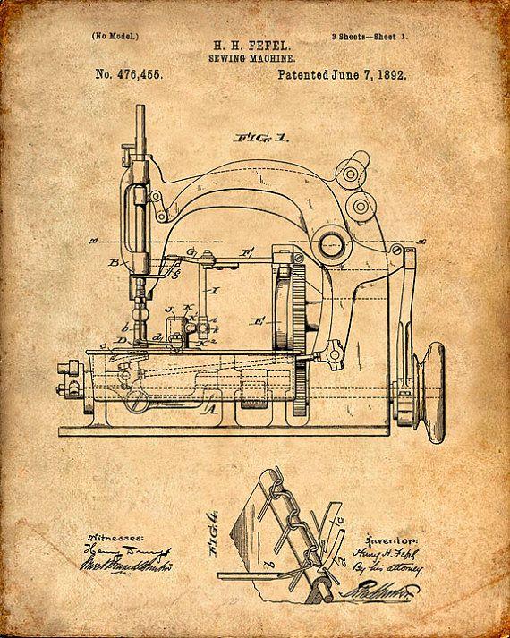 Sewing Machine Patent Print Sewing Machine Patent Art Print Patent Best Patent For Sewing Machine