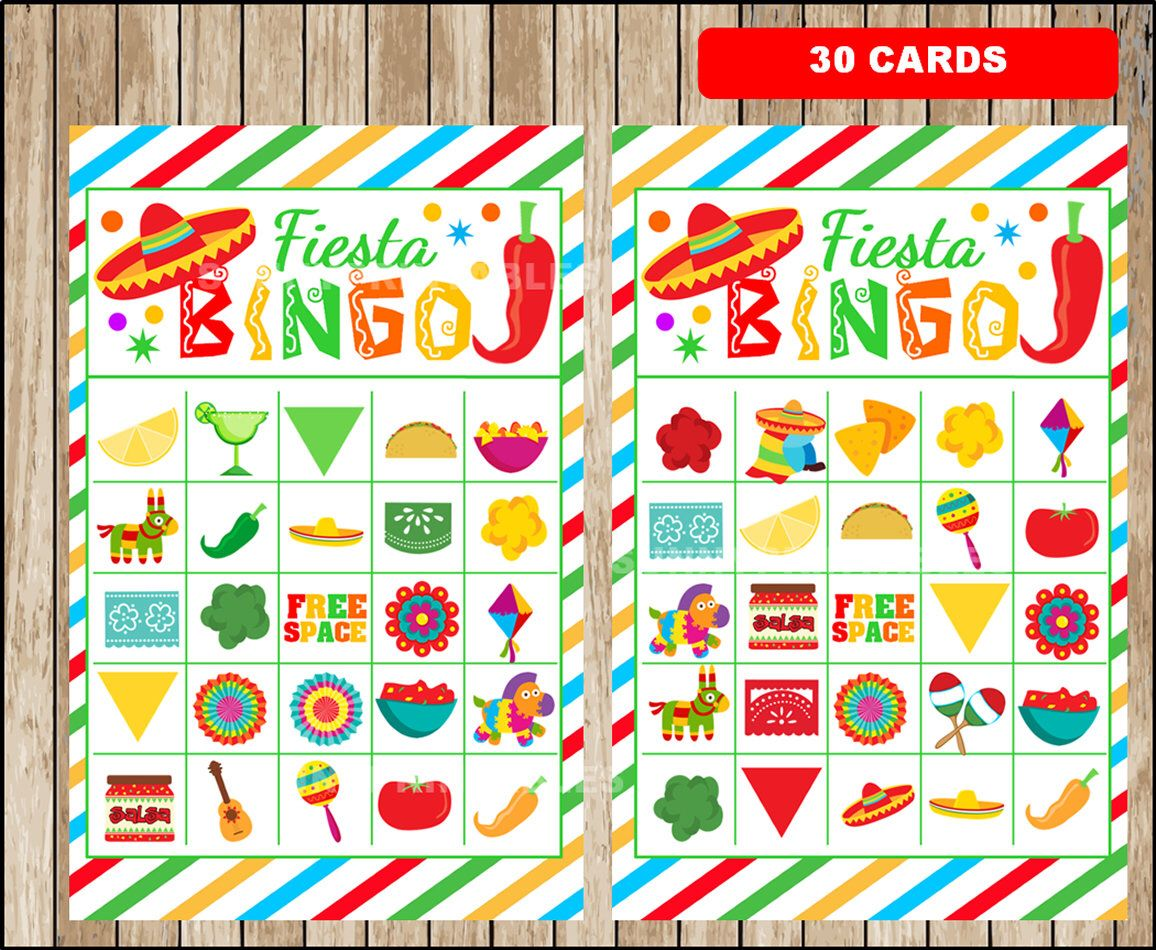 Mexican fiesta bingo 30 cards printable mexican fiesta