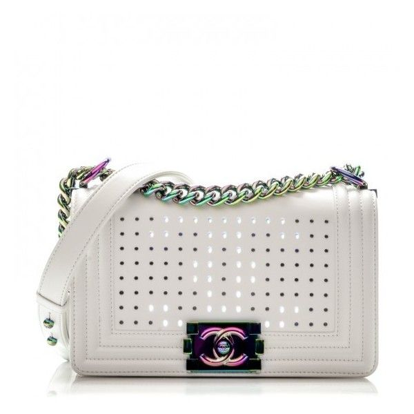 666d997f3ff2 CHANEL Lambskin LED Iridescent Metal Small Boy Flap White Multicolor ❤  liked on Polyvore featuring bags, handbags and shoulder bags