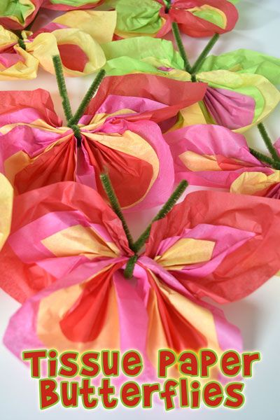 Make Easy Tissue Paper Butterflies Kids Crafts Paper Flowers For
