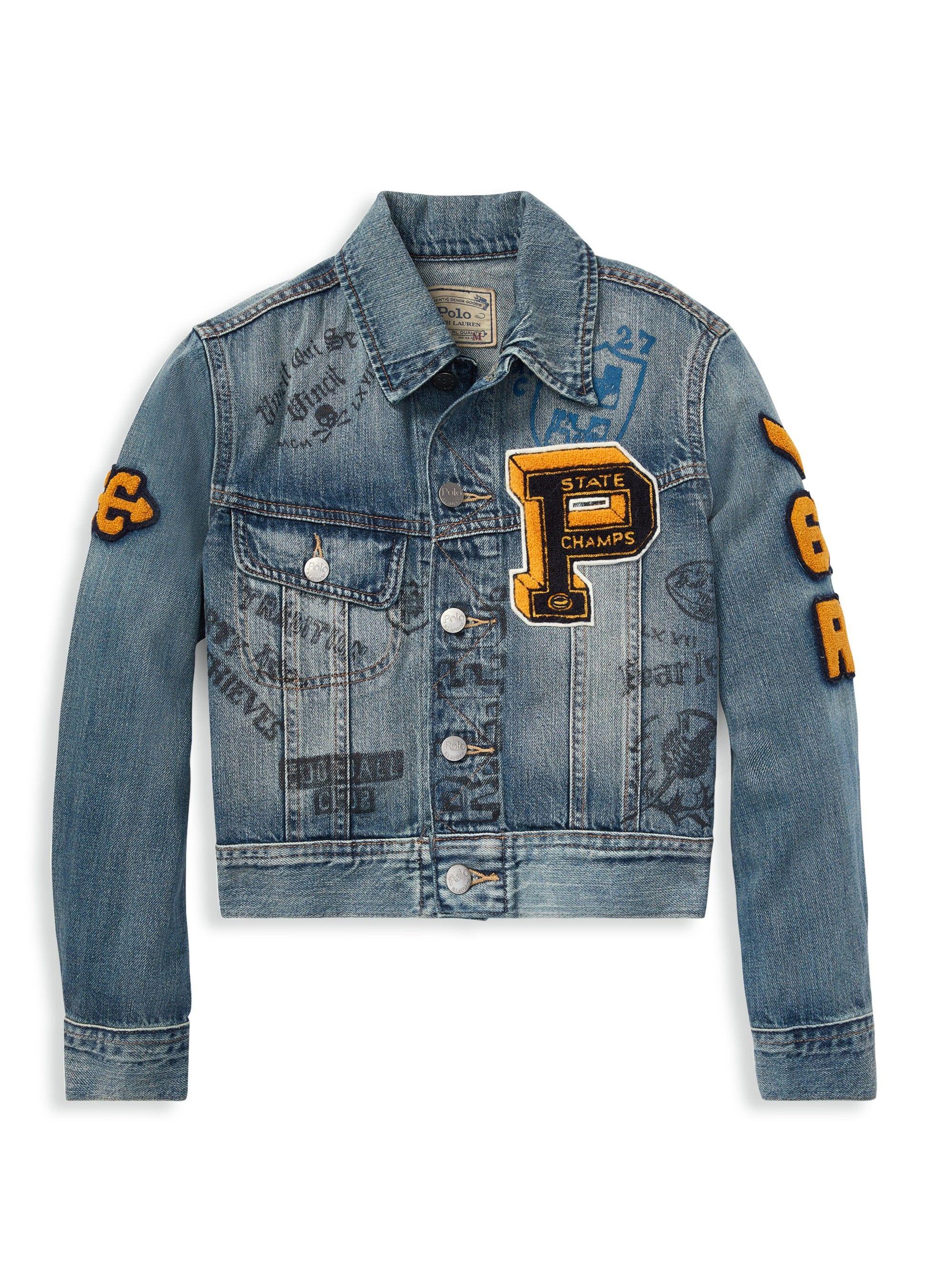 14aa9dbb77909 Ralph Lauren Boy s Varsity Denim Jacket - Blue X-Large (18-20)