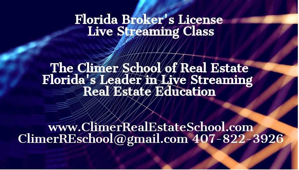 Florida Brokers License Live Stream Class Taking Reservations