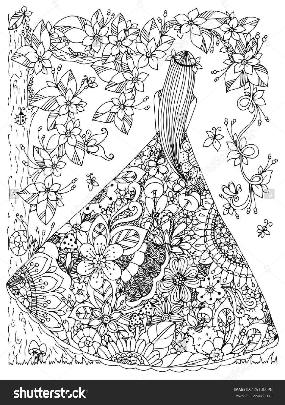 in a floral dress doodle flowers tree zen coloring page