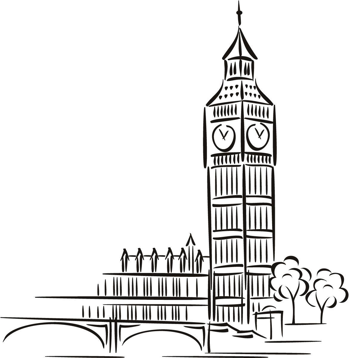 Big Ben Cartoon Around The World Wall Art Decal Wall Sticker Transfers Big Ben Art Big Ben Drawing Big Ben