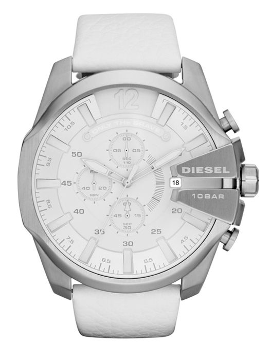e34547a8990 Diesel DZ4292 Men s Mega Chief White Leather Strap Watch