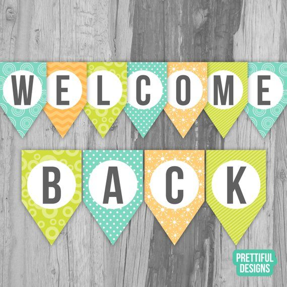 graphic relating to Welcome Home Banner Printable referred to as Welcome Back again Very first Working day of College Banner Printable Immediate