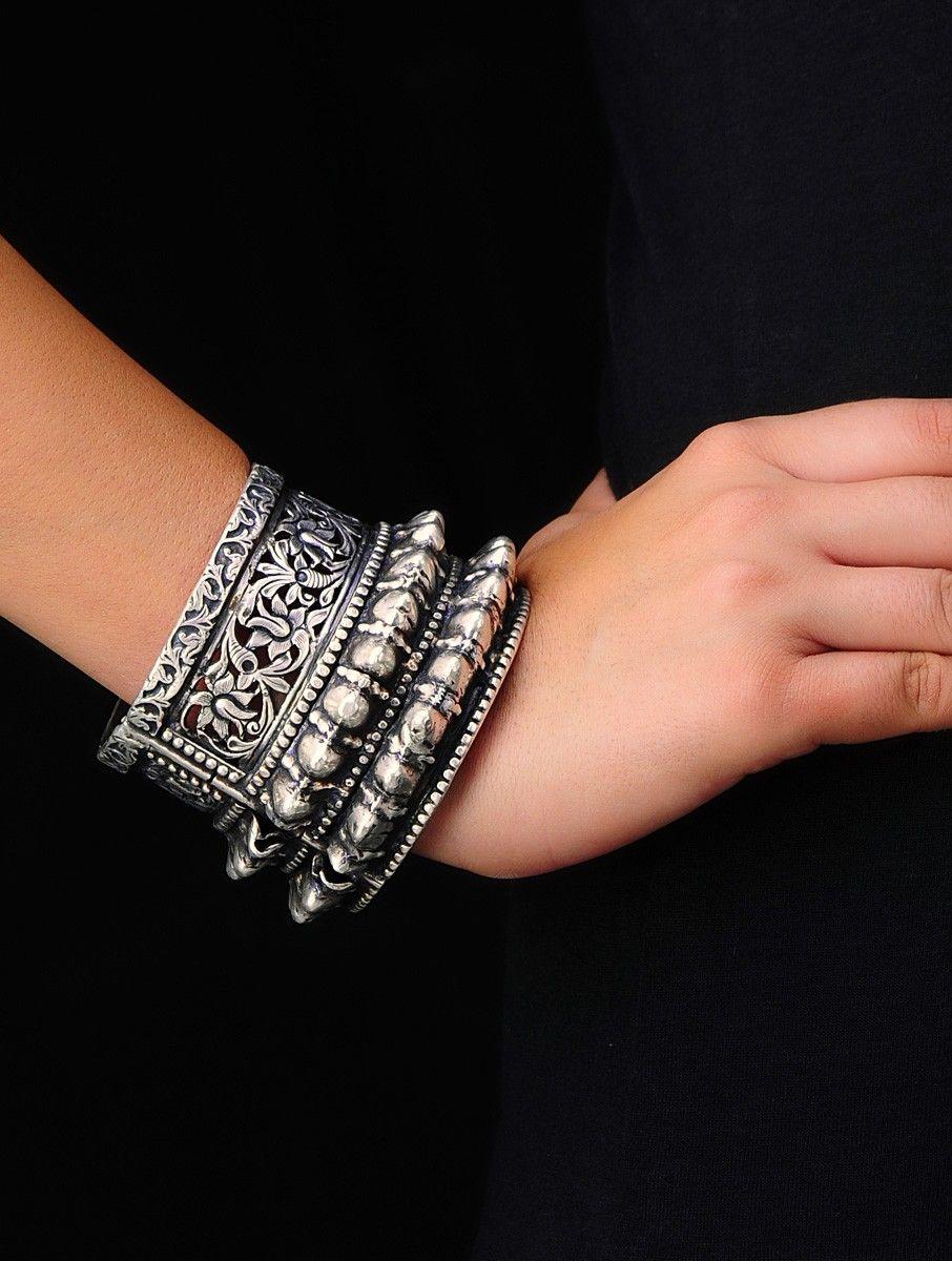 56b8bf30ca Boho Oriental Bangle (Hinge Opening) | boho accessories | Silver ...