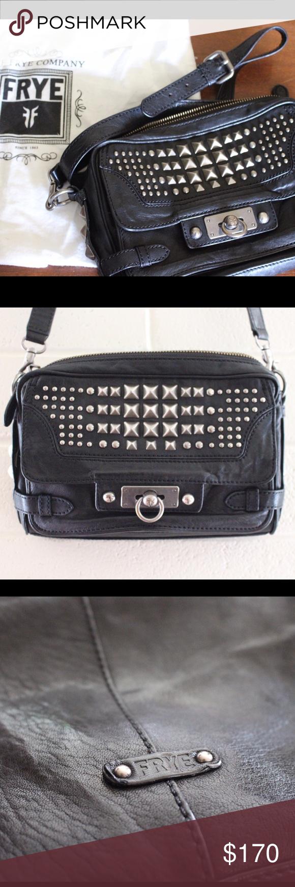 76d4b77f5860 Frye Cameron Studded Crossbody Amazing studded black leather crossbody bag.  Edgy statement piece that goes