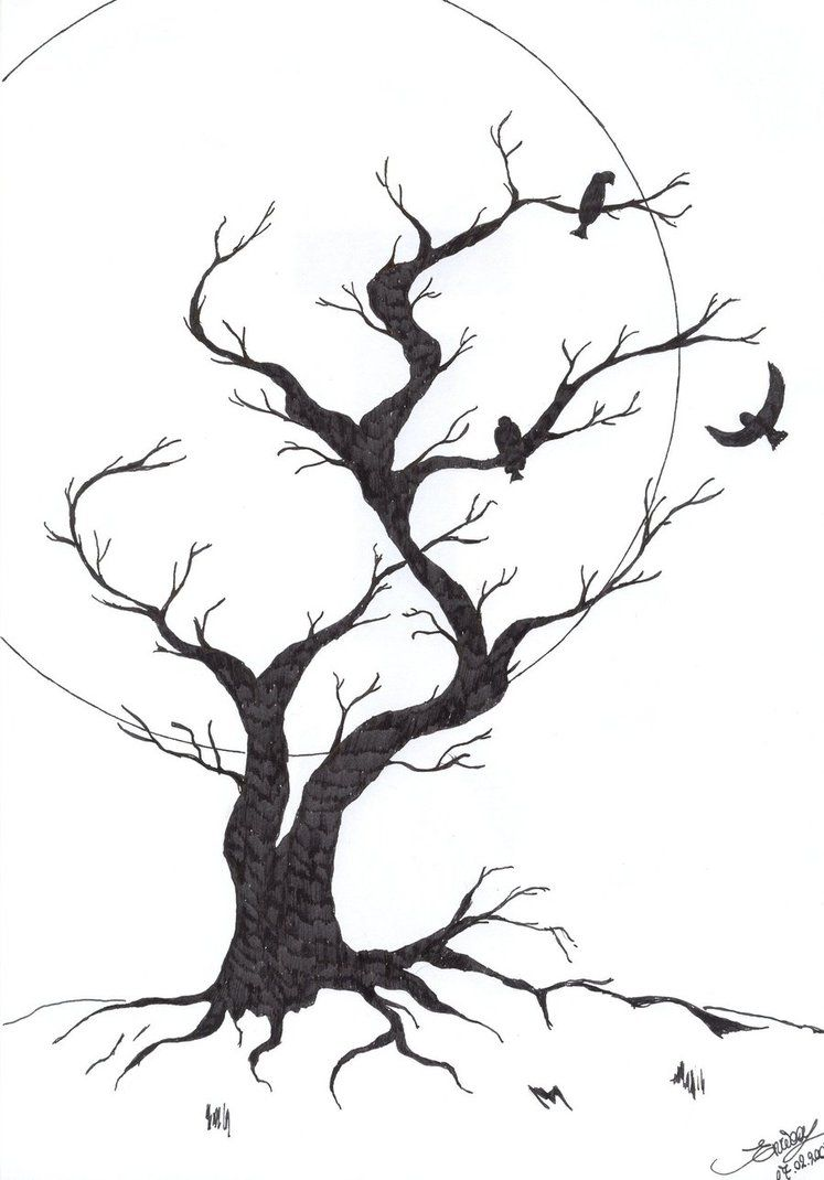how to draw a creepy tree step by step