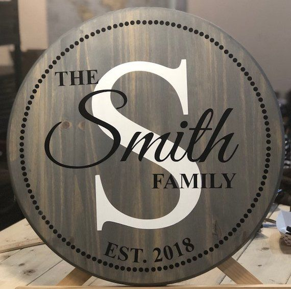 Round dotted border wood sign/Custom family sign/Block initial with family name wood sign/Housewarming gift/Wedding gift/Mother's Day #woodsigns