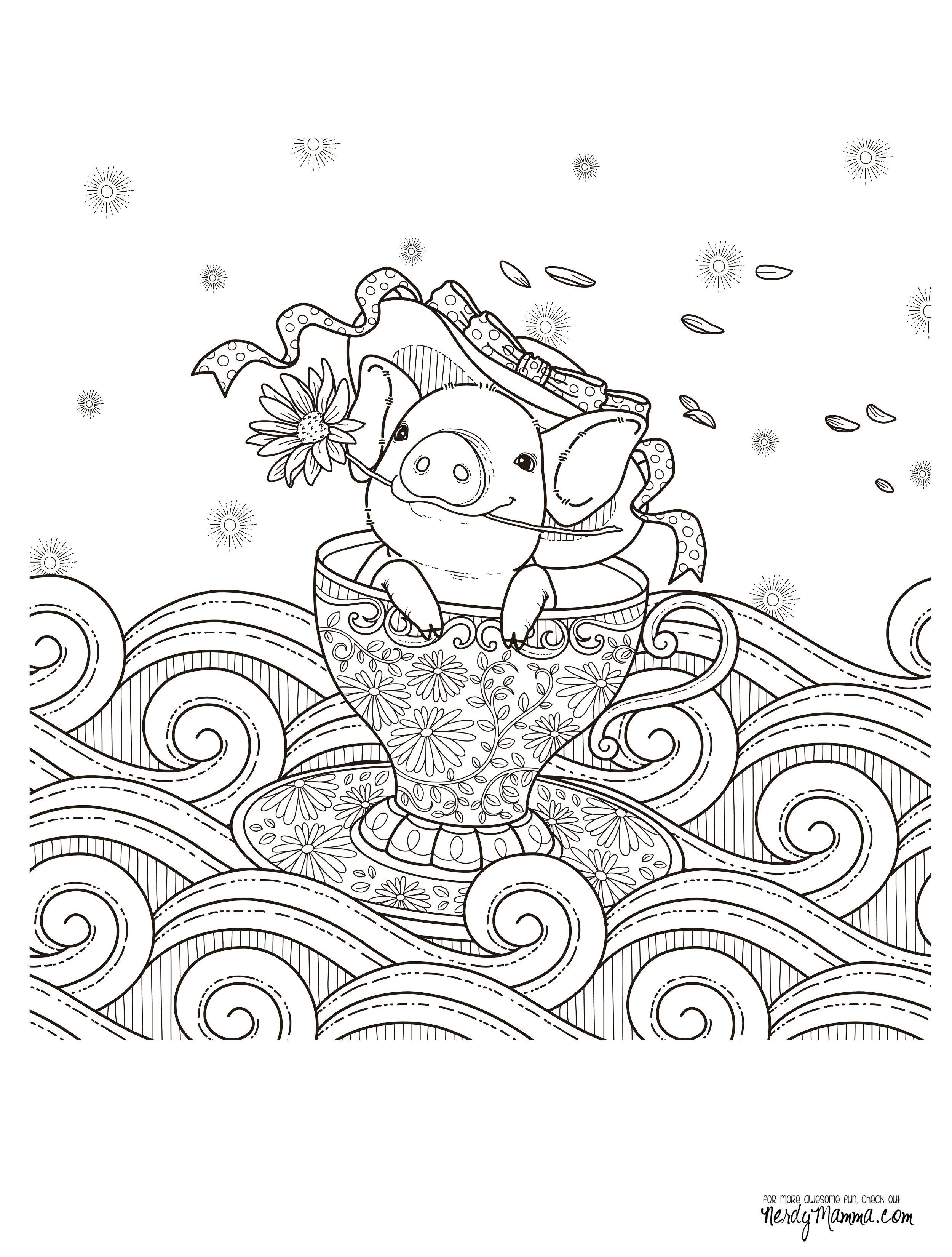 pig in a teacuop coloring page for adults kleuren voor volwassenen